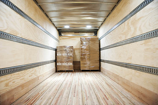Inside of a container with two LTL pallets